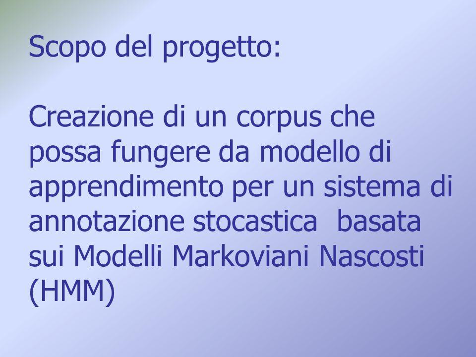 Scopo del progetto: Creazione di un corpus che possa fungere da modello di apprendimento per un sistema di annotazione stocastica basata sui Modelli Markoviani Nascosti (HMM)
