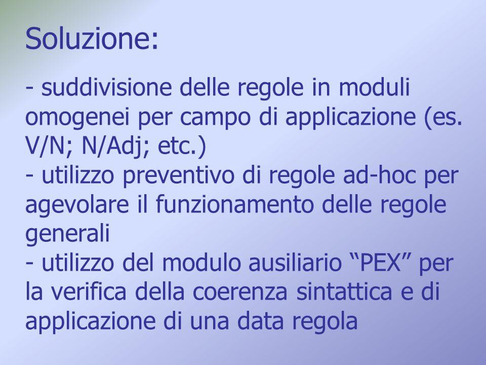 Soluzione: - suddivisione delle regole in moduli omogenei per campo di applicazione (es. V/N; N/Adj; etc.) - utilizzo preventivo di regole ad-hoc per