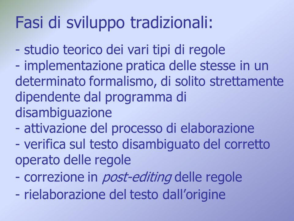 Fasi di sviluppo tradizionali: - studio teorico dei vari tipi di regole - implementazione pratica delle stesse in un determinato formalismo, di solito