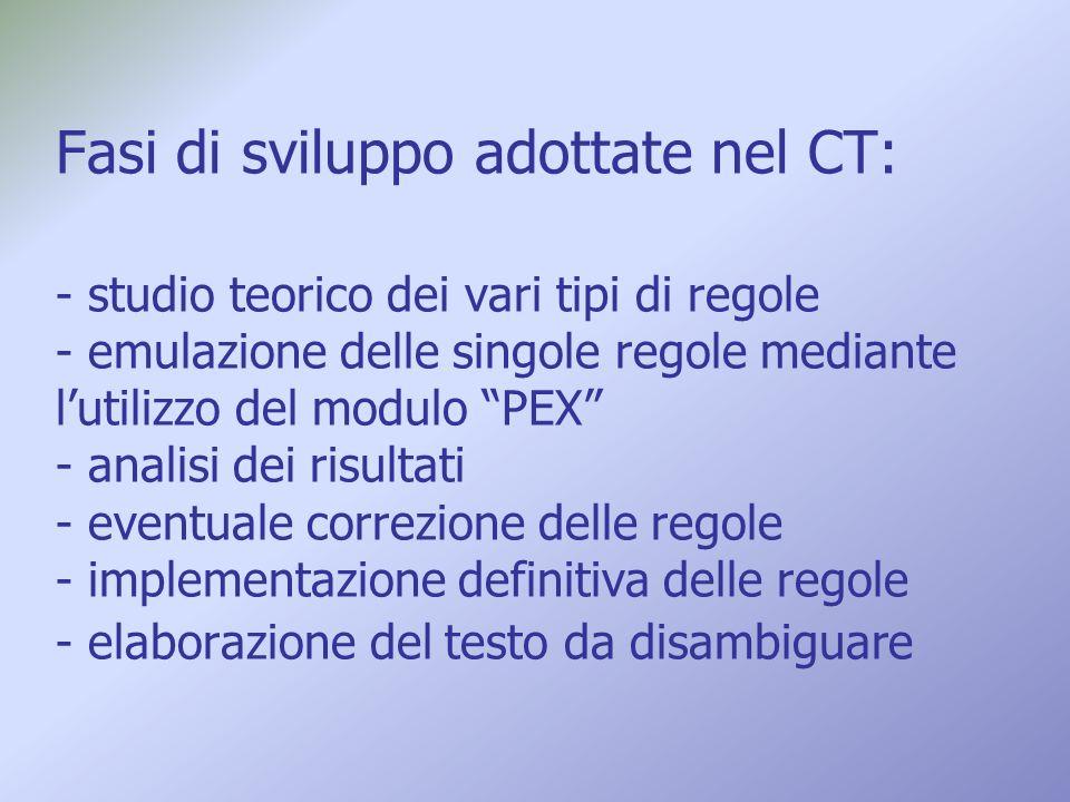 Fasi di sviluppo adottate nel CT: - studio teorico dei vari tipi di regole - emulazione delle singole regole mediante lutilizzo del modulo PEX - anali