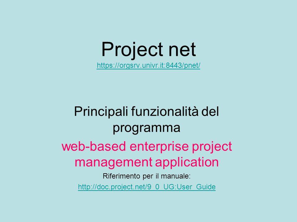 Project net https://orgsrv.univr.it:8443/pnet/ https://orgsrv.univr.it:8443/pnet/ Principali funzionalità del programma web-based enterprise project m