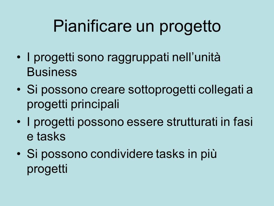 Pianificare un progetto I progetti sono raggruppati nellunità Business Si possono creare sottoprogetti collegati a progetti principali I progetti poss