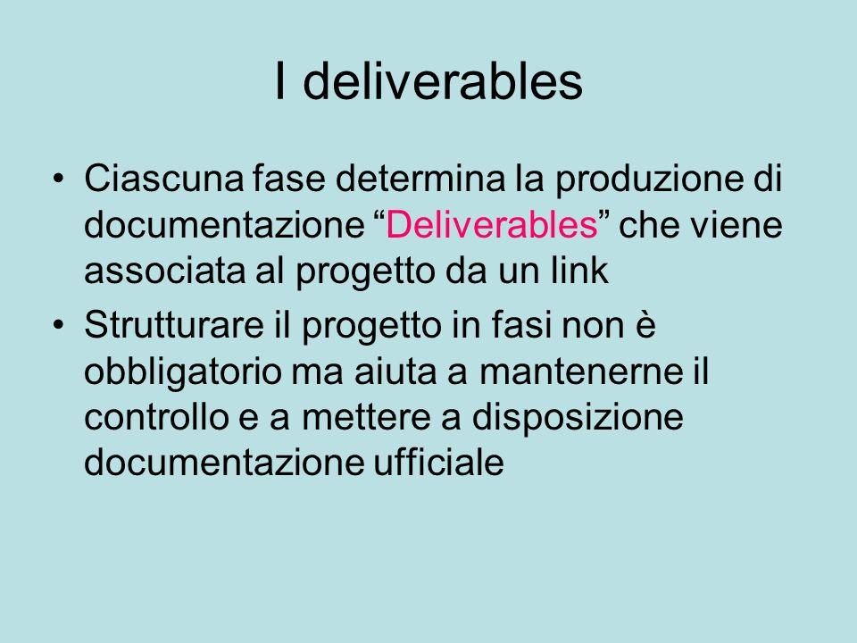 I deliverables Ciascuna fase determina la produzione di documentazione Deliverables che viene associata al progetto da un link Strutturare il progetto