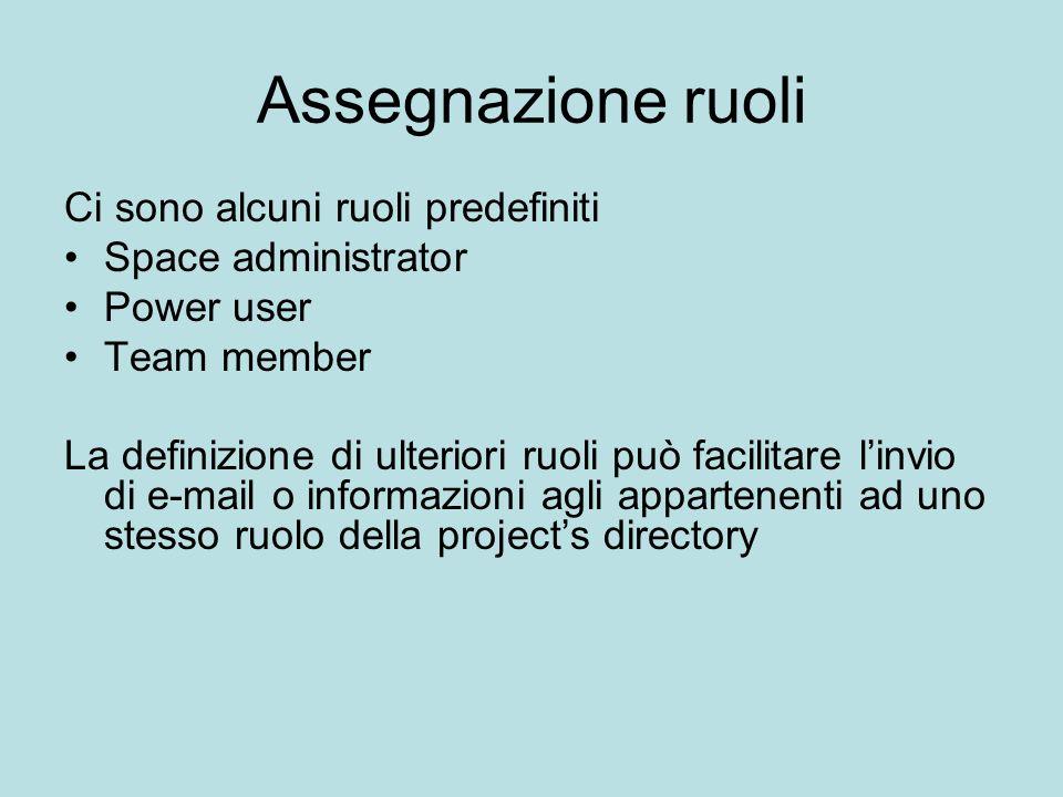 Assegnazione ruoli Ci sono alcuni ruoli predefiniti Space administrator Power user Team member La definizione di ulteriori ruoli può facilitare linvio