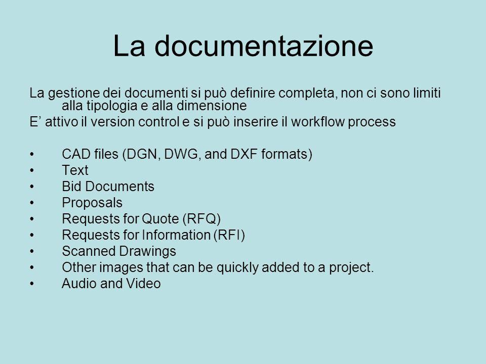 La documentazione La gestione dei documenti si può definire completa, non ci sono limiti alla tipologia e alla dimensione E attivo il version control
