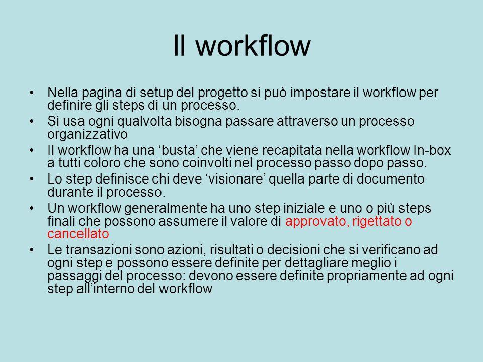Il workflow Nella pagina di setup del progetto si può impostare il workflow per definire gli steps di un processo. Si usa ogni qualvolta bisogna passa