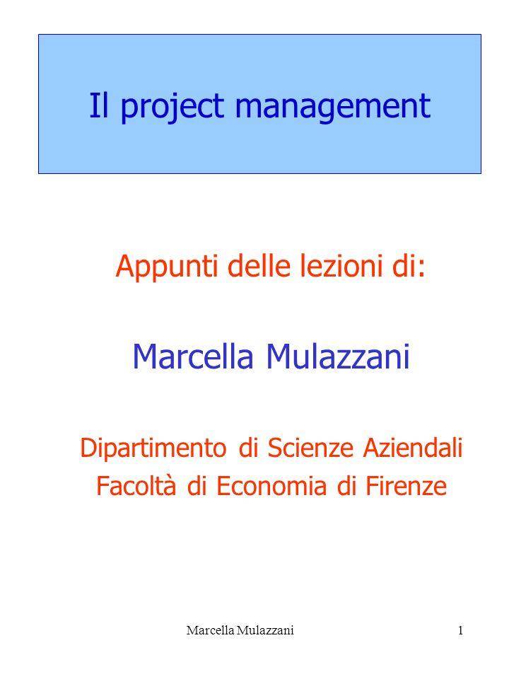Marcella Mulazzani1 Il project management Appunti delle lezioni di: Marcella Mulazzani Dipartimento di Scienze Aziendali Facoltà di Economia di Firenz