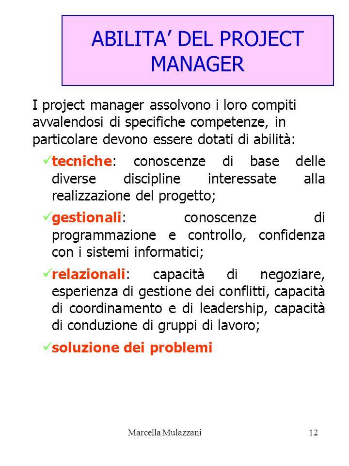 Marcella Mulazzani12 ABILITA DEL PROJECT MANAGER I project manager assolvono i loro compiti avvalendosi di specifiche competenze, in particolare devon