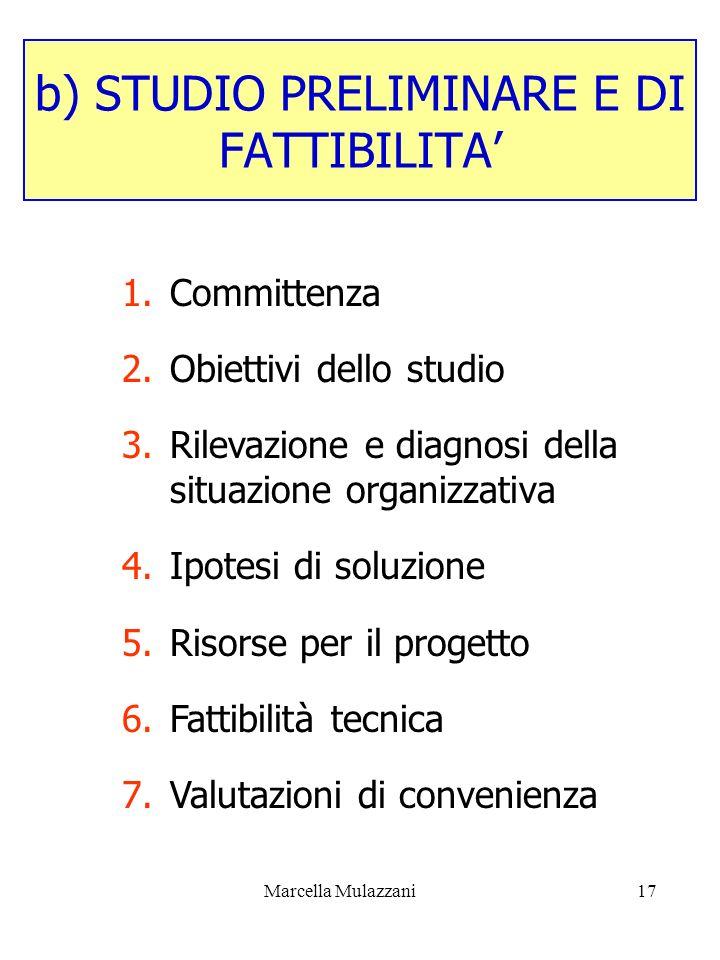 Marcella Mulazzani17 b) STUDIO PRELIMINARE E DI FATTIBILITA 1.Committenza 2.Obiettivi dello studio 3.Rilevazione e diagnosi della situazione organizza