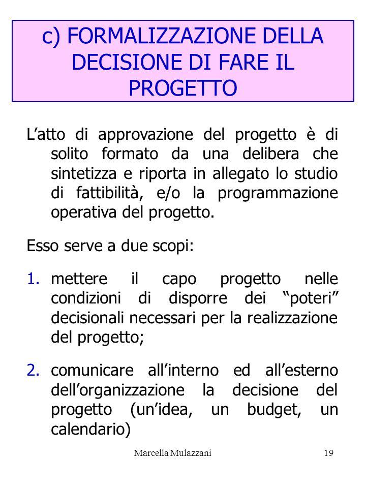 Marcella Mulazzani19 c) FORMALIZZAZIONE DELLA DECISIONE DI FARE IL PROGETTO Latto di approvazione del progetto è di solito formato da una delibera che