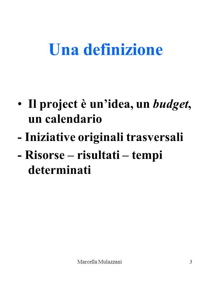 Marcella Mulazzani3 Una definizione Il project è unidea, un budget, un calendario - Iniziative originali trasversali - Risorse – risultati – tempi det
