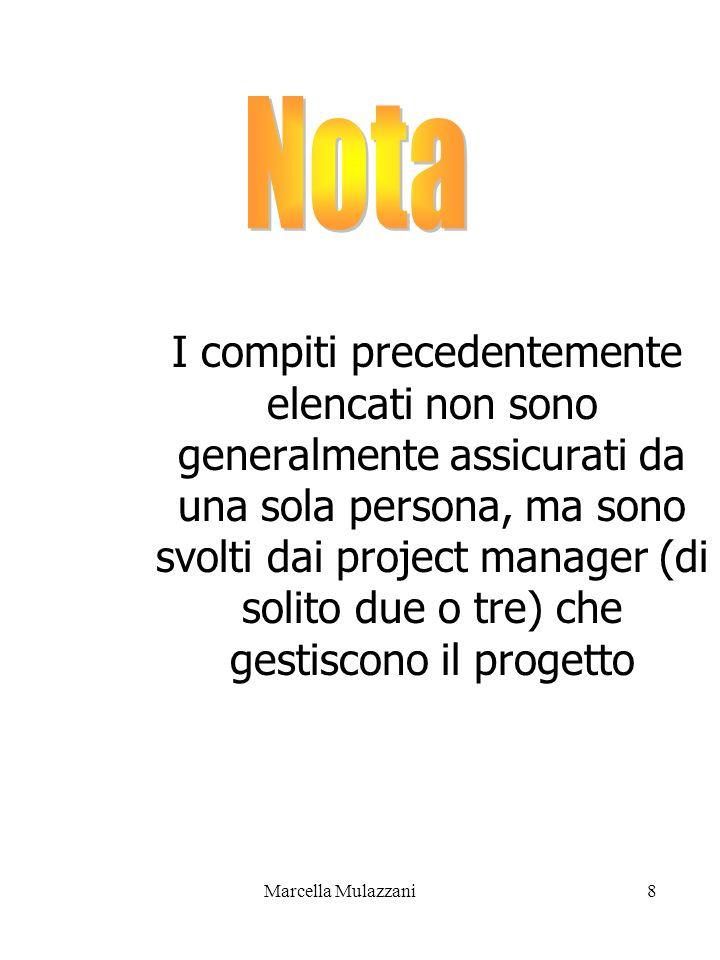 Marcella Mulazzani8 I compiti precedentemente elencati non sono generalmente assicurati da una sola persona, ma sono svolti dai project manager (di so