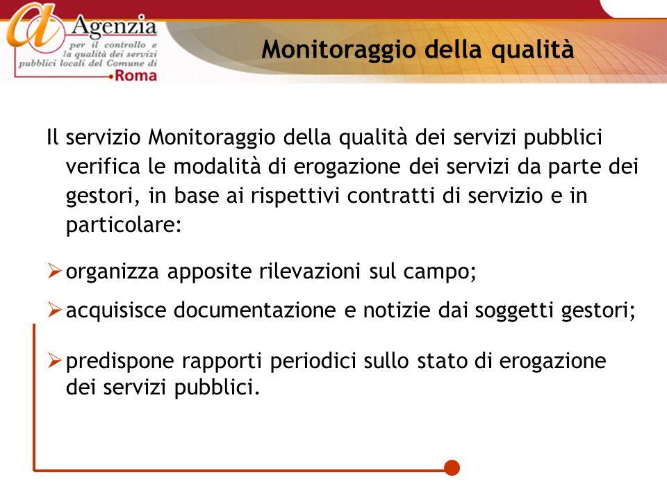 Monitoraggio della qualità Il servizio Monitoraggio della qualità dei servizi pubblici verifica le modalità di erogazione dei servizi da parte dei ges
