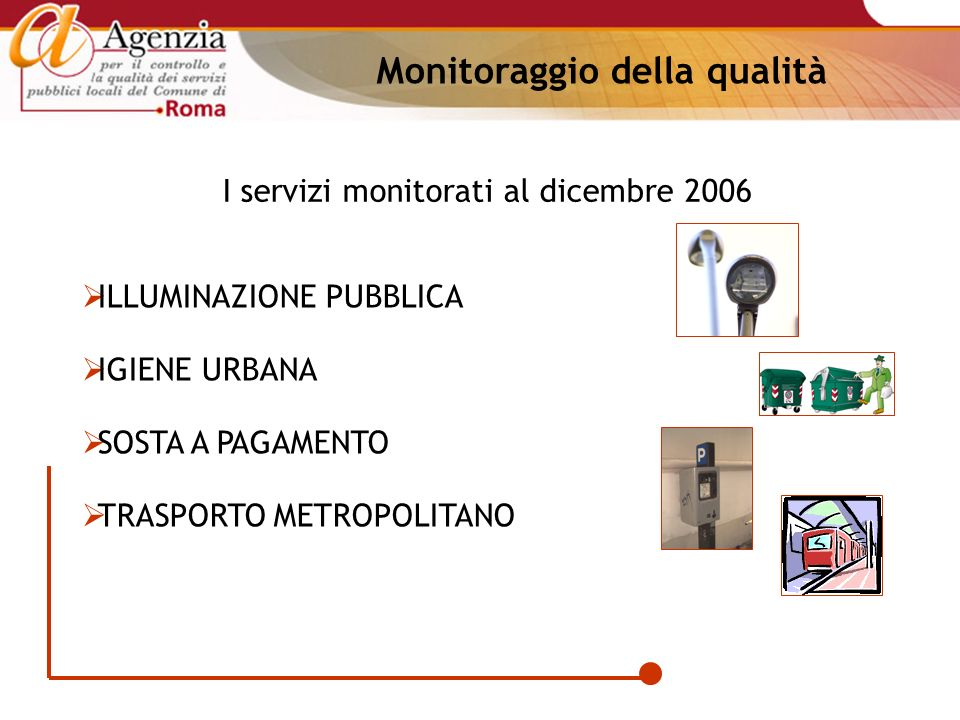 I servizi monitorati al dicembre 2006 ILLUMINAZIONE PUBBLICA IGIENE URBANA SOSTA A PAGAMENTO TRASPORTO METROPOLITANO Monitoraggio della qualità