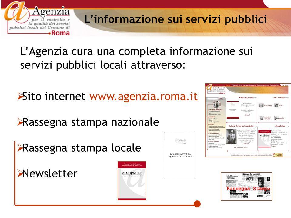 Linformazione sui servizi pubblici LAgenzia cura una completa informazione sui servizi pubblici locali attraverso: Sito internet www.agenzia.roma.it R