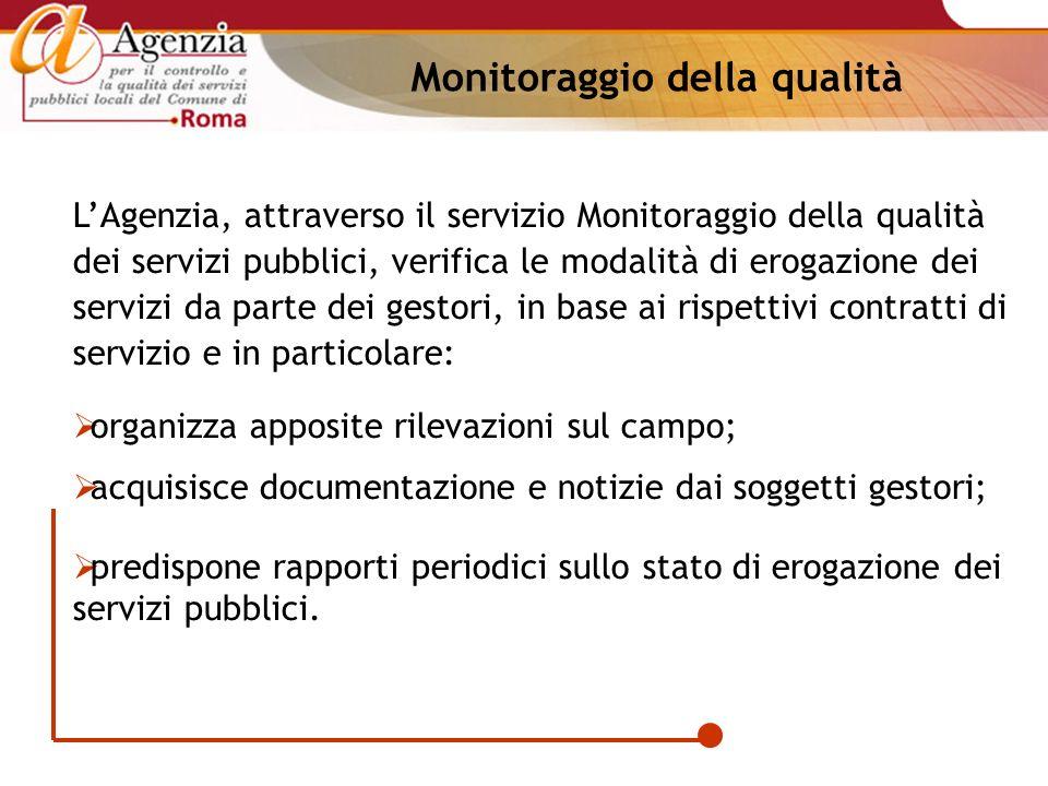 Monitoraggio della qualità LAgenzia, attraverso il servizio Monitoraggio della qualità dei servizi pubblici, verifica le modalità di erogazione dei se