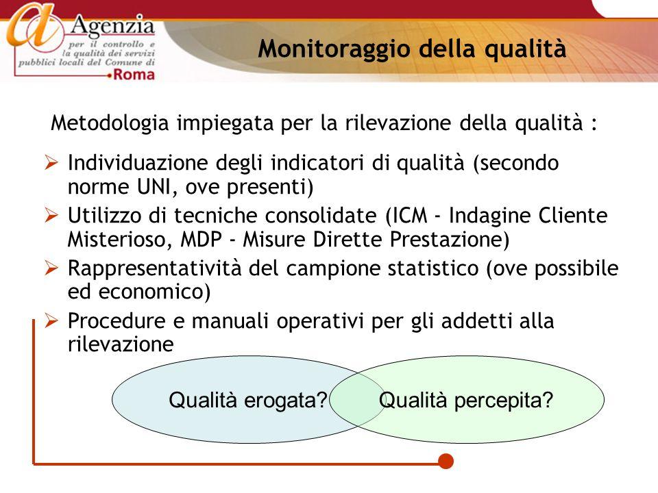 Metodologia impiegata per la rilevazione della qualità : Individuazione degli indicatori di qualità (secondo norme UNI, ove presenti) Utilizzo di tecn