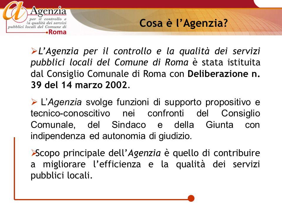 LAgenzia per il controllo e la qualità dei servizi pubblici locali del Comune di Roma è stata istituita dal Consiglio Comunale di Roma con Deliberazio