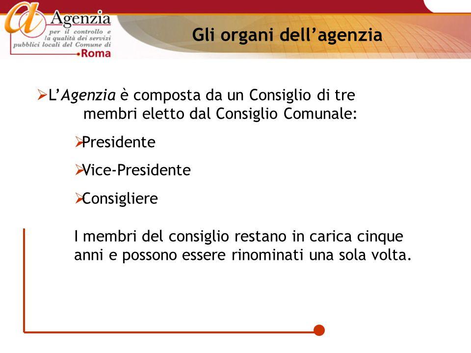 Gli organi dellagenzia LAgenzia è composta da un Consiglio di tre membri eletto dal Consiglio Comunale: Presidente Vice-Presidente Consigliere I membr
