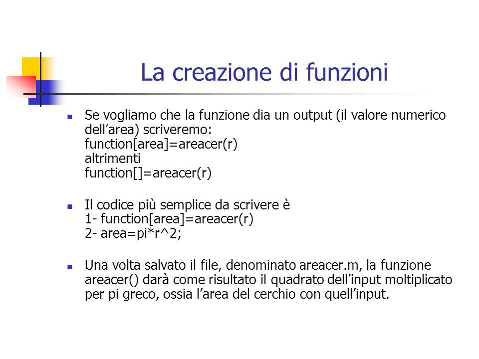 La creazione di funzioni Se vogliamo che la funzione dia un output (il valore numerico dellarea) scriveremo: function[area]=areacer(r) altrimenti function[]=areacer(r) Il codice più semplice da scrivere è 1- function[area]=areacer(r) 2- area=pi*r^2; Una volta salvato il file, denominato areacer.m, la funzione areacer() darà come risultato il quadrato dellinput moltiplicato per pi greco, ossia larea del cerchio con quellinput.