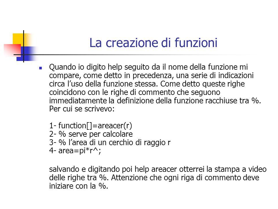 La creazione di funzioni Quando io digito help seguito da il nome della funzione mi compare, come detto in precedenza, una serie di indicazioni circa