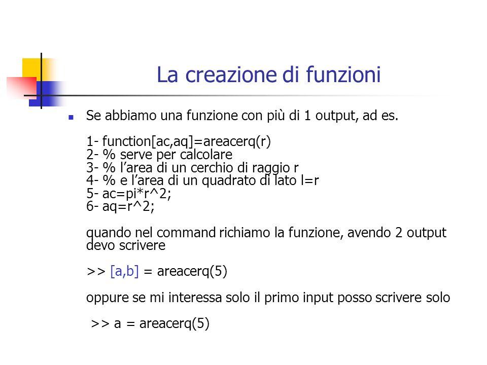 La creazione di funzioni Se abbiamo una funzione con più di 1 output, ad es. 1- function[ac,aq]=areacerq(r) 2- % serve per calcolare 3- % larea di un