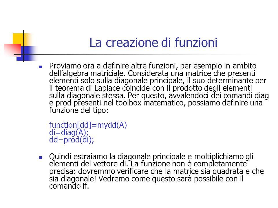 La creazione di funzioni Proviamo ora a definire altre funzioni, per esempio in ambito dellalgebra matriciale. Considerata una matrice che presenti el