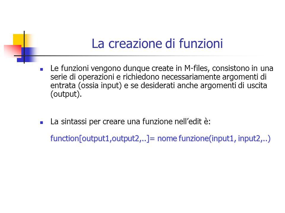 La creazione di funzioni Le funzioni vengono dunque create in M-files, consistono in una serie di operazioni e richiedono necessariamente argomenti di entrata (ossia input) e se desiderati anche argomenti di uscita (output).