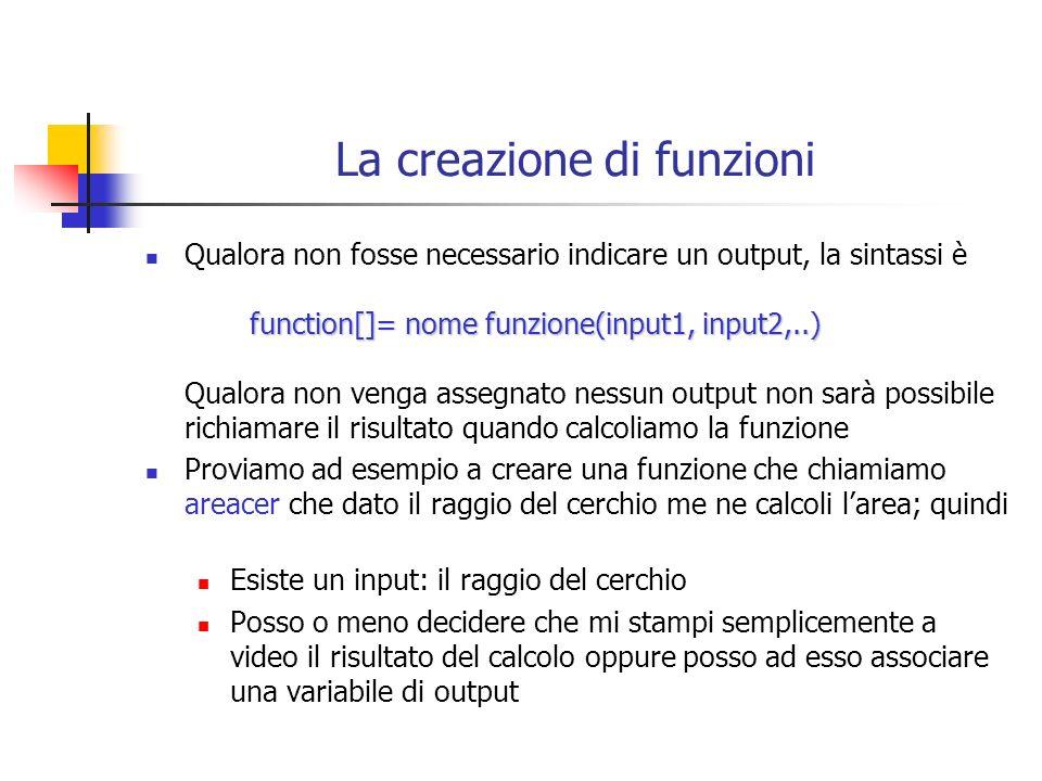 La creazione di funzioni function[]= nome funzione(input1, input2,..) Qualora non fosse necessario indicare un output, la sintassi è function[]= nome