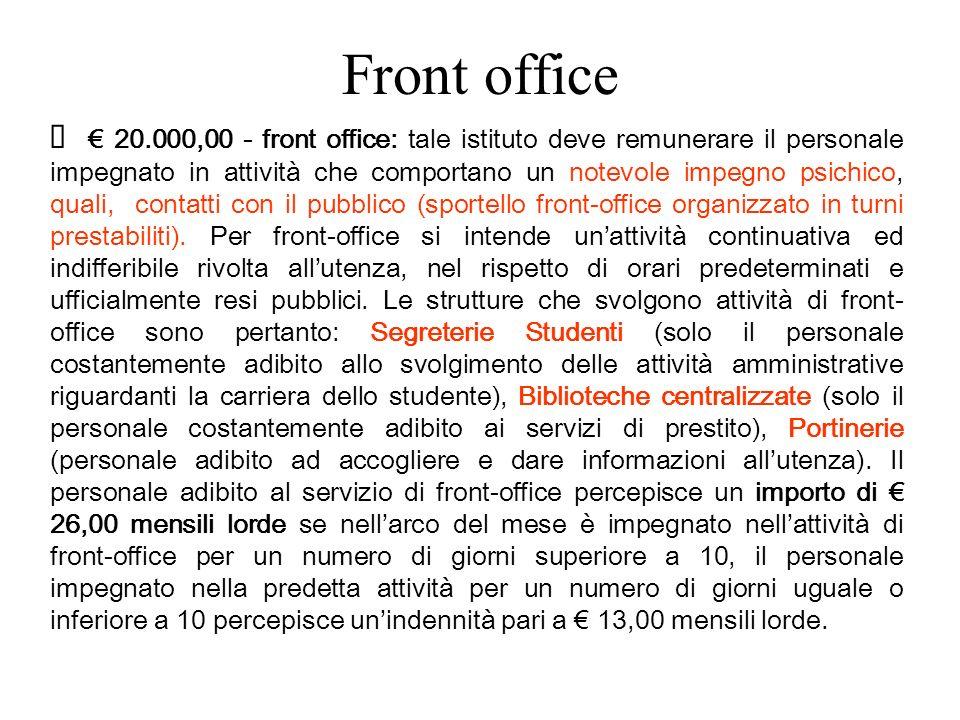 Front office 20.000,00 - front office: tale istituto deve remunerare il personale impegnato in attività che comportano un notevole impegno psichico, quali, contatti con il pubblico (sportello front-office organizzato in turni prestabiliti).