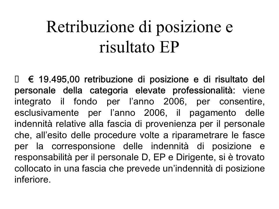Retribuzione di posizione e risultato EP 19.495,00 retribuzione di posizione e di risultato del personale della categoria elevate professionalità: vie