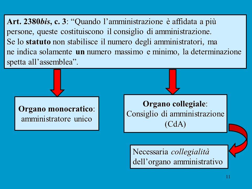 11 Necessaria collegialità dellorgano amministrativo Art. 2380bis, c. 3: Quando lamministrazione è affidata a più persone, queste costituiscono il con