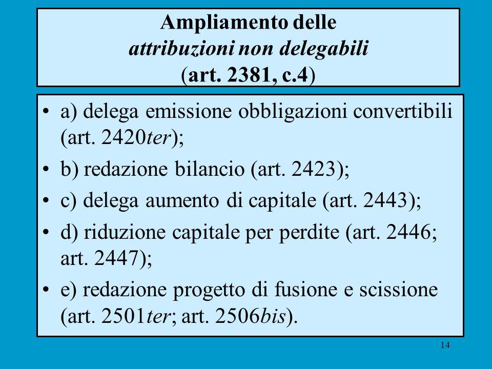 14 Ampliamento delle attribuzioni non delegabili (art. 2381, c.4) a) delega emissione obbligazioni convertibili (art. 2420ter); b) redazione bilancio