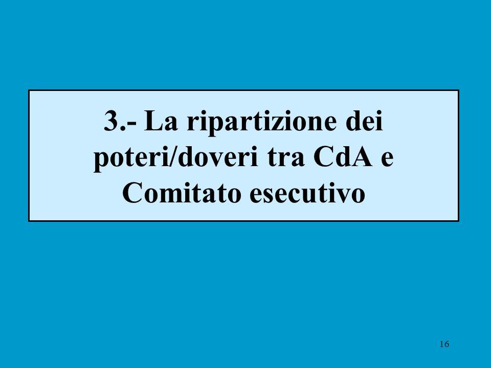 16 3.- La ripartizione dei poteri/doveri tra CdA e Comitato esecutivo