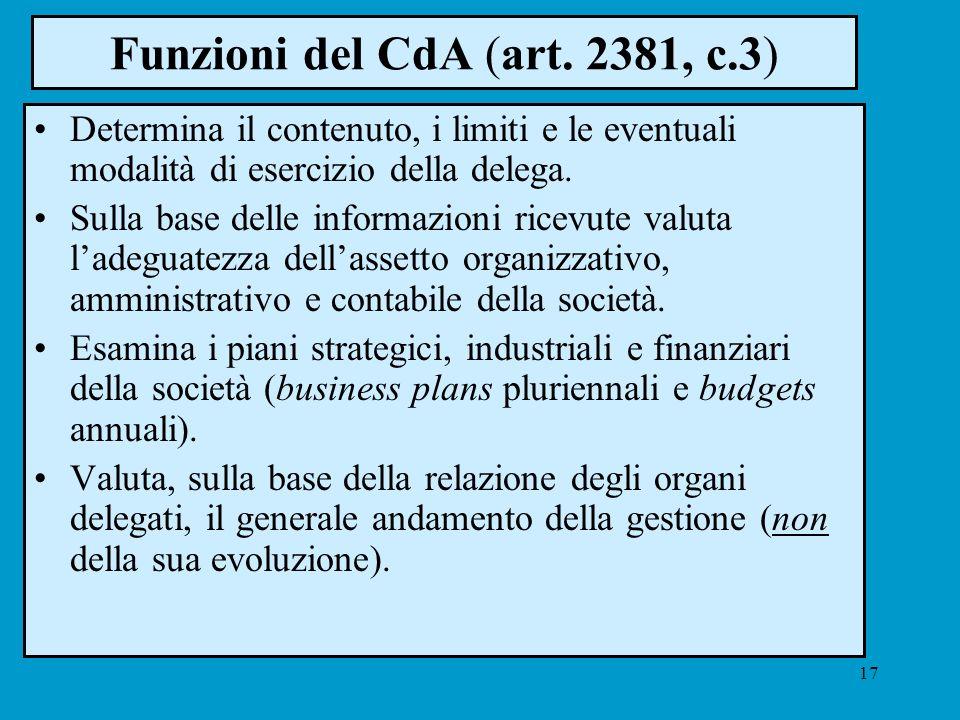 17 Funzioni del CdA (art. 2381, c.3) Determina il contenuto, i limiti e le eventuali modalità di esercizio della delega. Sulla base delle informazioni