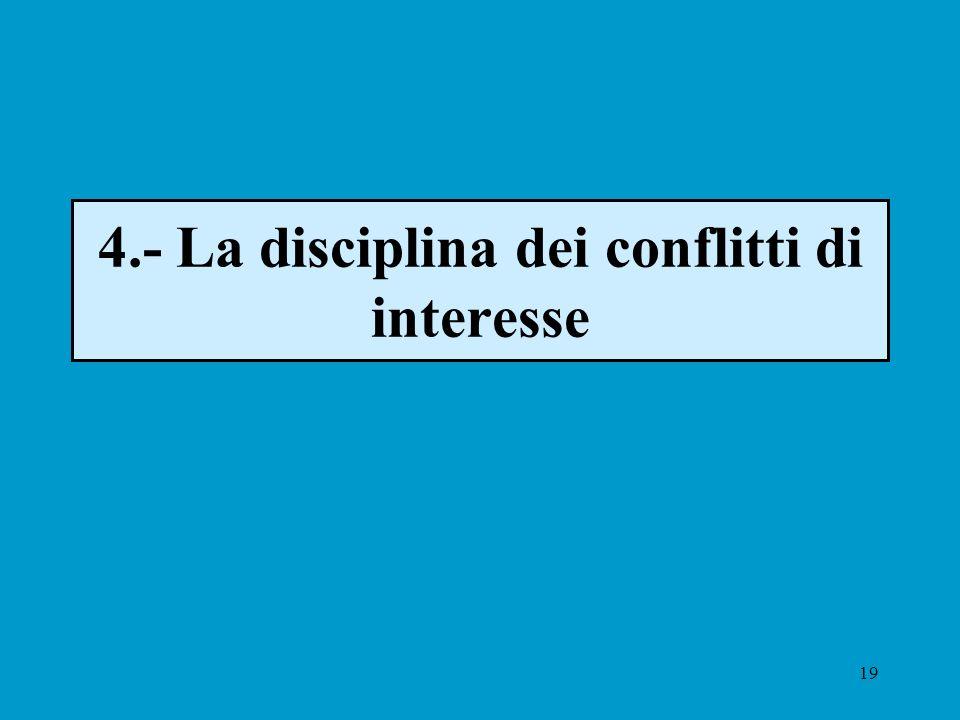 19 4.- La disciplina dei conflitti di interesse