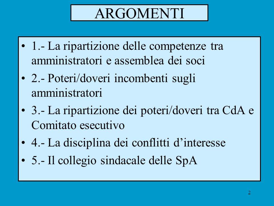 2 ARGOMENTI 1.- La ripartizione delle competenze tra amministratori e assemblea dei soci 2.- Poteri/doveri incombenti sugli amministratori 3.- La ripa