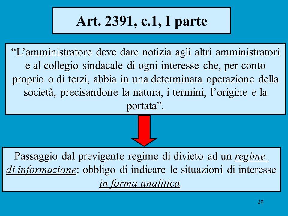 20 Art. 2391, c.1, I parte Lamministratore deve dare notizia agli altri amministratori e al collegio sindacale di ogni interesse che, per conto propri