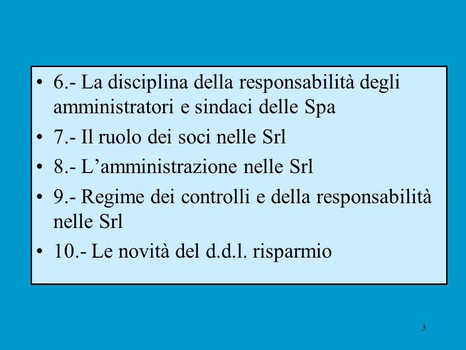 3 6.- La disciplina della responsabilità degli amministratori e sindaci delle Spa 7.- Il ruolo dei soci nelle Srl 8.- Lamministrazione nelle Srl 9.- R