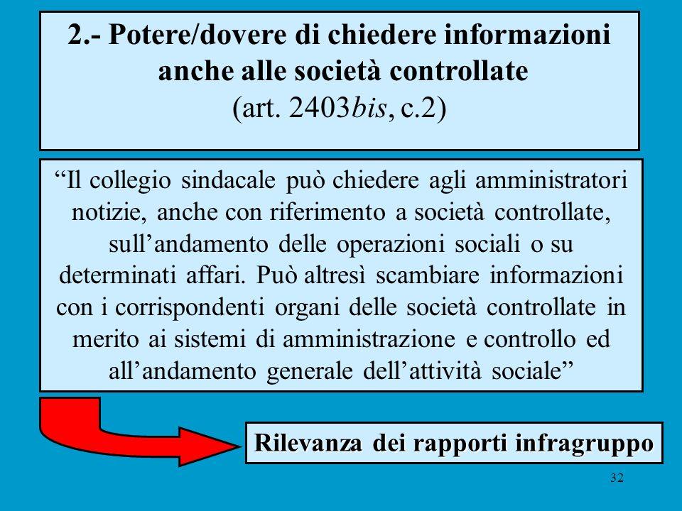 32 2.- Potere/dovere di chiedere informazioni anche alle società controllate (art. 2403bis, c.2) Il collegio sindacale può chiedere agli amministrator