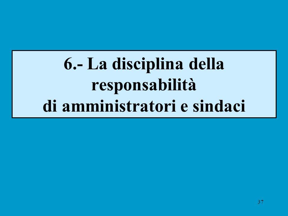 37 6.- La disciplina della responsabilità di amministratori e sindaci