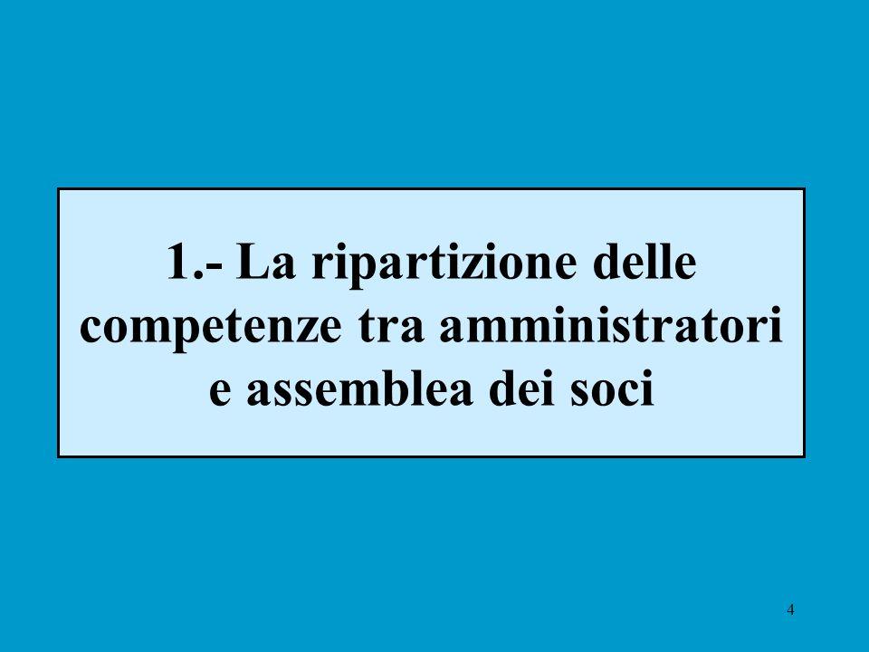 4 1.- La ripartizione delle competenze tra amministratori e assemblea dei soci
