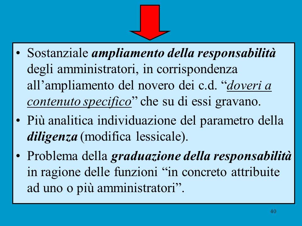 40 Sostanziale ampliamento della responsabilità degli amministratori, in corrispondenza allampliamento del novero dei c.d. doveri a contenuto specific
