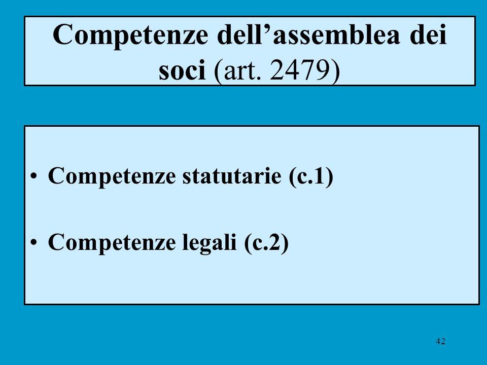 42 Competenze dellassemblea dei soci (art. 2479) Competenze statutarie (c.1) Competenze legali (c.2)