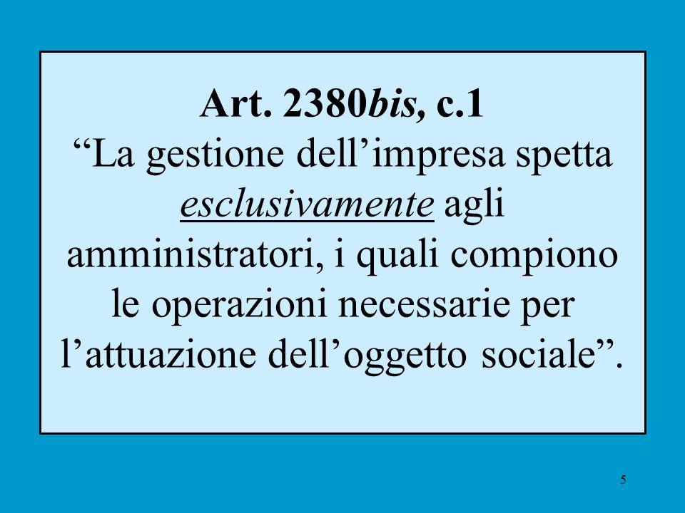 5 Art. 2380bis, c.1 La gestione dellimpresa spetta esclusivamente agli amministratori, i quali compiono le operazioni necessarie per lattuazione dello