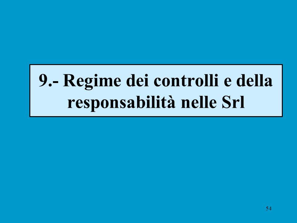 54 9.- Regime dei controlli e della responsabilità nelle Srl