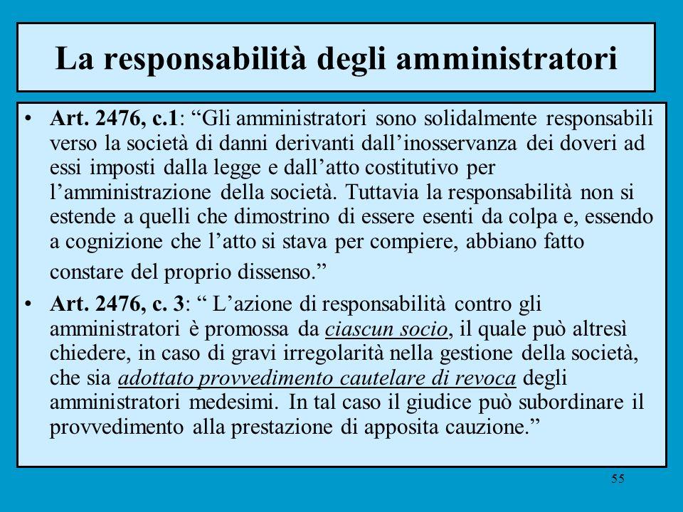 55 La responsabilità degli amministratori Art. 2476, c.1: Gli amministratori sono solidalmente responsabili verso la società di danni derivanti dallin