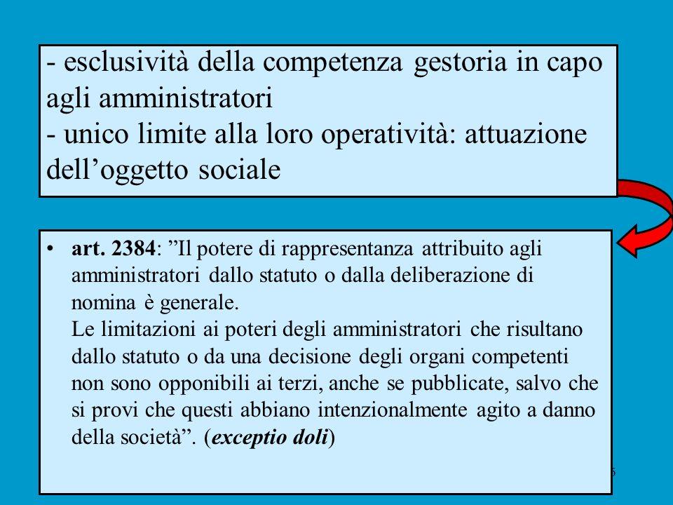 6 - esclusività della competenza gestoria in capo agli amministratori - unico limite alla loro operatività: attuazione delloggetto sociale art. 2384: