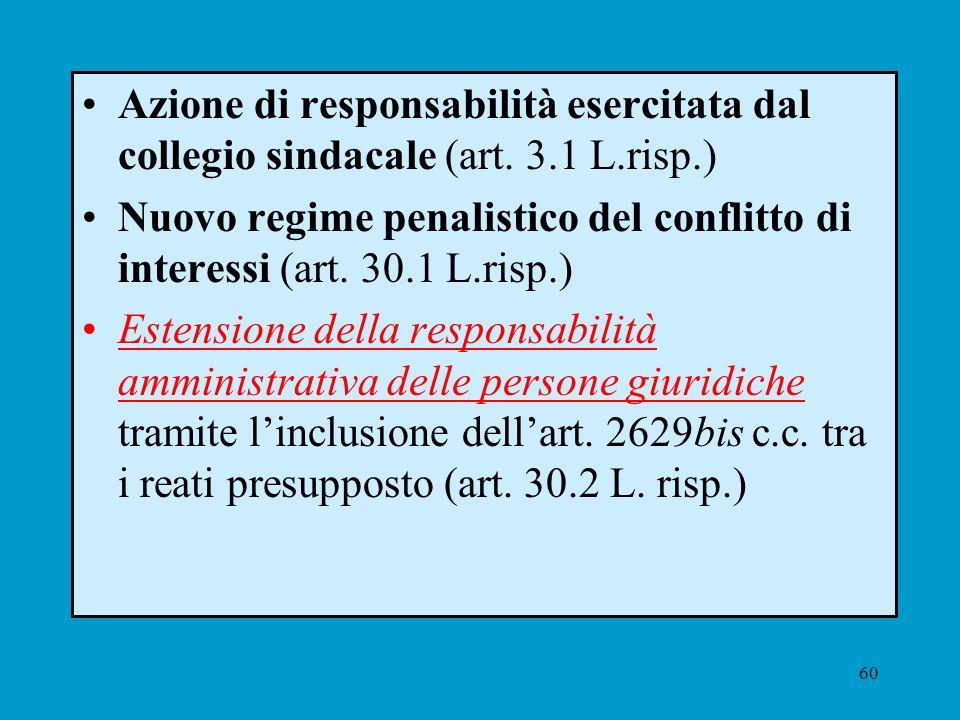 60 Azione di responsabilità esercitata dal collegio sindacale (art. 3.1 L.risp.) Nuovo regime penalistico del conflitto di interessi (art. 30.1 L.risp