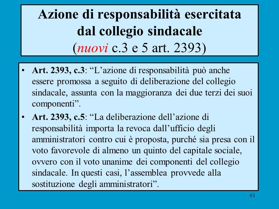 61 Azione di responsabilità esercitata dal collegio sindacale (nuovi c.3 e 5 art. 2393) Art. 2393, c.3: Lazione di responsabilità può anche essere pro